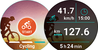 <b>Cycling</b><br>Current time/elapsed time/speed/distance travelled