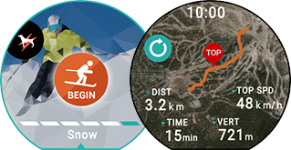<b>Winter sports</b><br>Current time/distance travelled