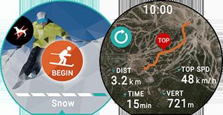 <b>Sport d'hiver</b><br>Heure actuelle/Distance parcourue