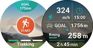 <b>Trekking</b><br>Current time/elapsed time/speed/remaining altitude to goal