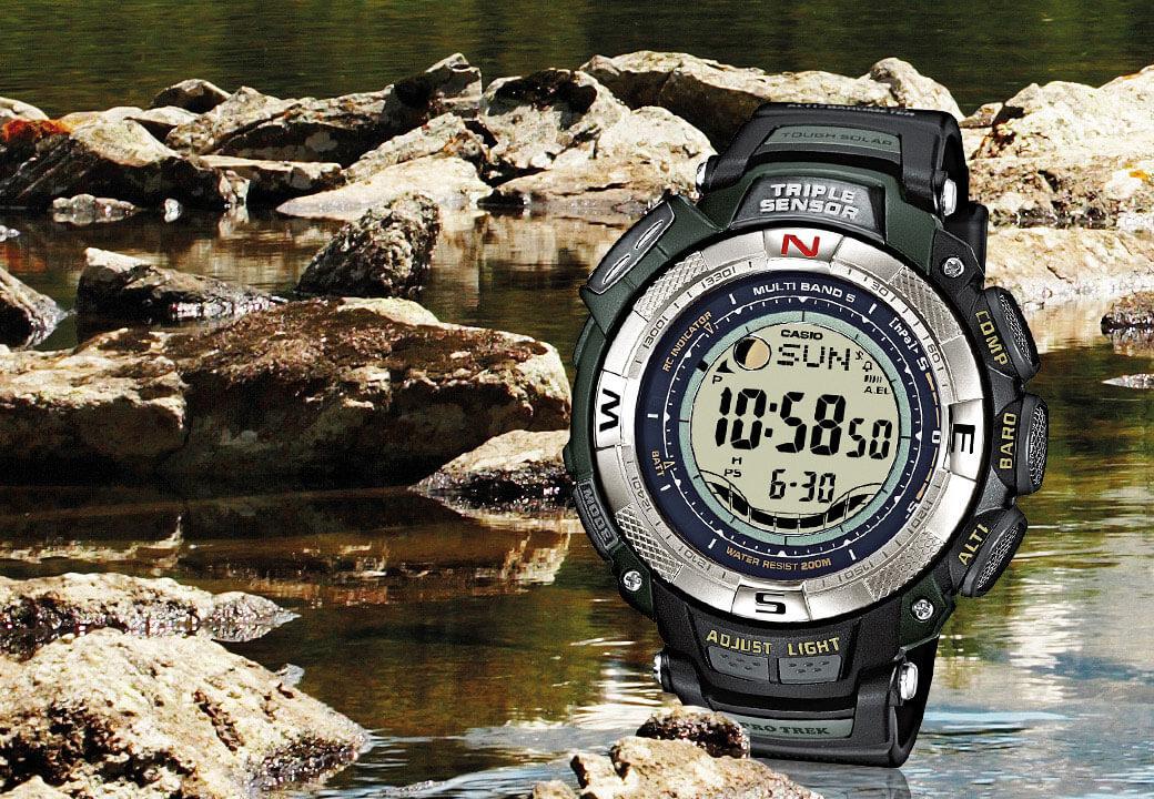 Il modello PRW-1500-1VER di CASIO è l'orologio perfetto per un'escursione di pesca