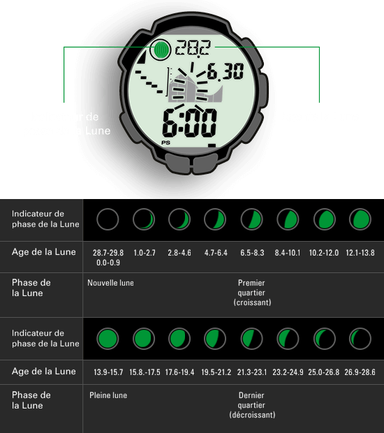 L'indicateur des phases lunaires de la montre se base sur le calcul de l'âge de la Lune