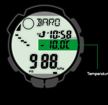 Das Thermometer der PRO TREK misst Temperaturen im Bereich von –10 °C bis +60 °C