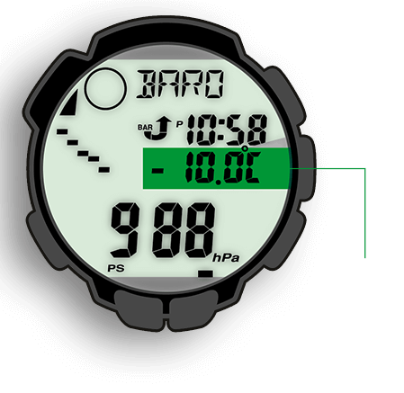 The thermometer of the PRO TREK measures temperatures in the range of -10°C to +60°C