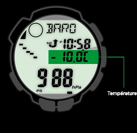 Le thermomètre des montres PRO TREK mesure les températures sur une plage comprise entre –10°C et +60°C