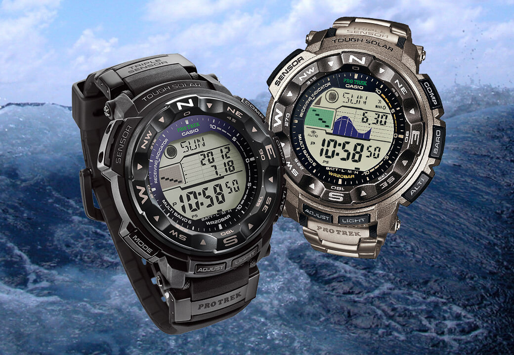 Water-resistant watches for anglers: the PRW-2500-1ER and PRW-2500T-7ER models